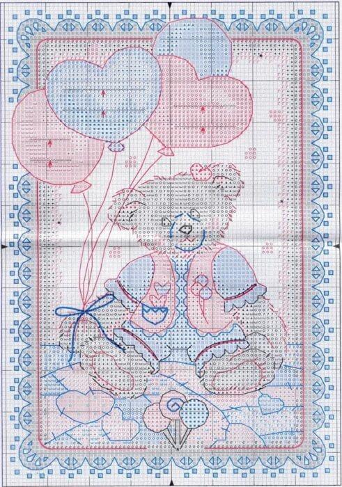Вышивка метрики для новорожденных крестом: схемы для мальчика и девочки