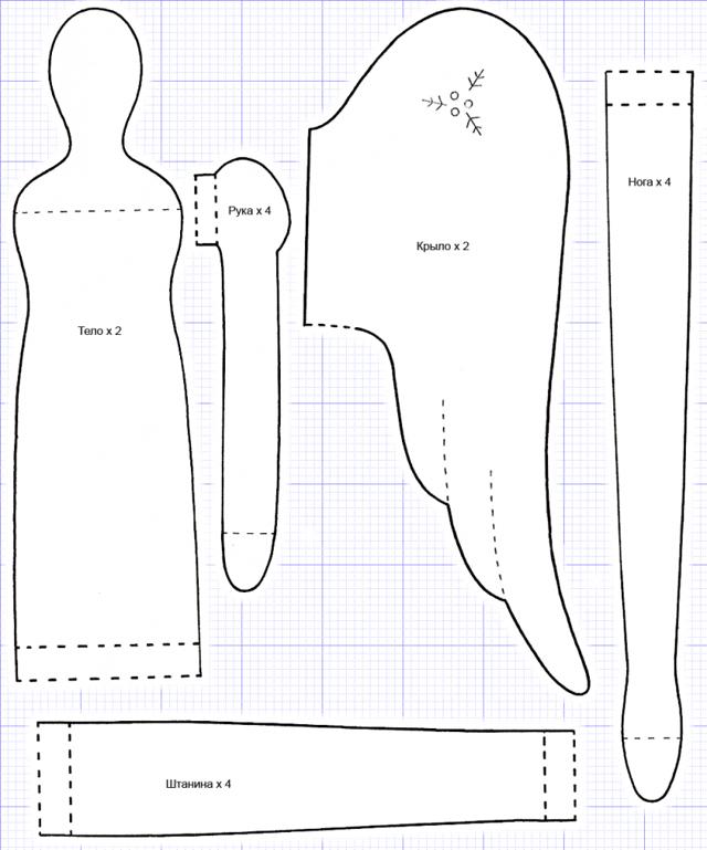 Ангелы Тильда: выкройка в натуральную величину, шьем сами своими руками