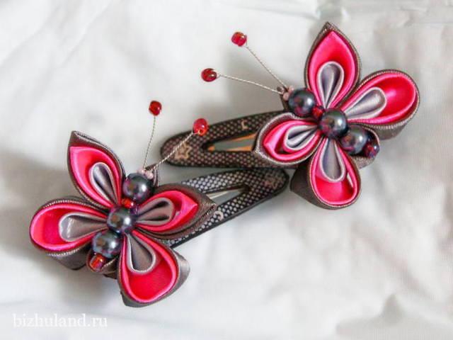 Канзаши из репсовой ленты, резинки, цветы своими руками самостоятельно