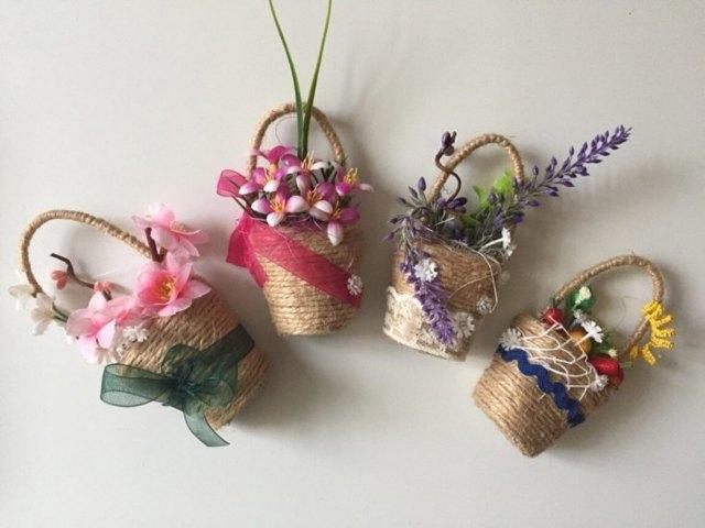 Цветы из джута и мешковины или шпагата: как сделать своими руками