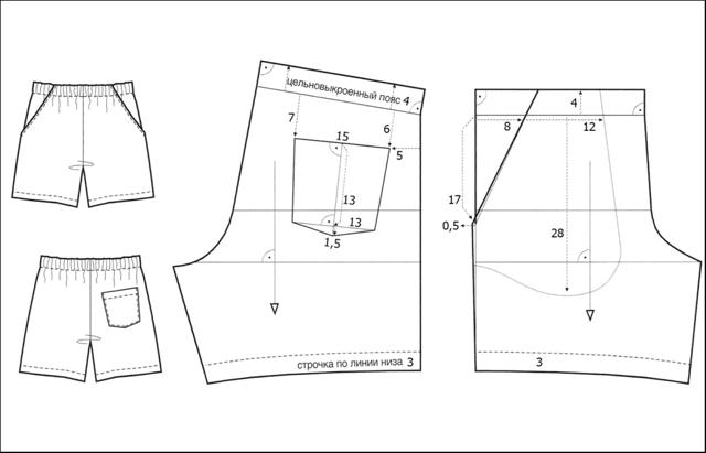 Мужские шорты: выкройка на резинке, как сшить своими руками для начинающих