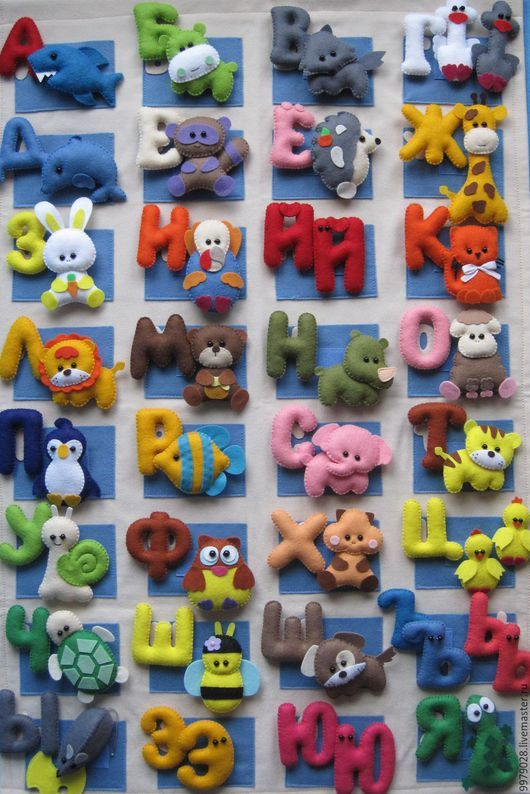 Алфавит: выкройки азбуки из фетра с животными, как шить своими руками