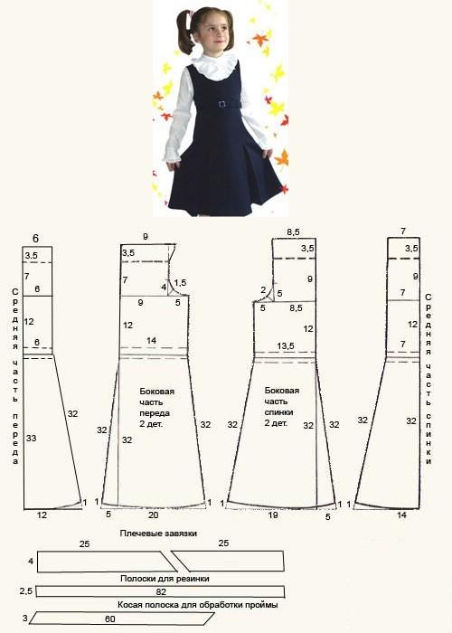 Выкройка школьного сарафана и формы для девочек: как сшить своими руками