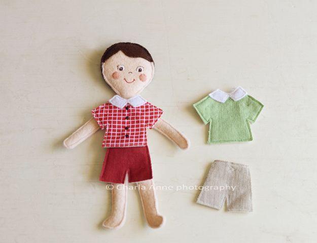Кукла из фетра: выкройка с одеждой на липучках, своими руками, мастер класс