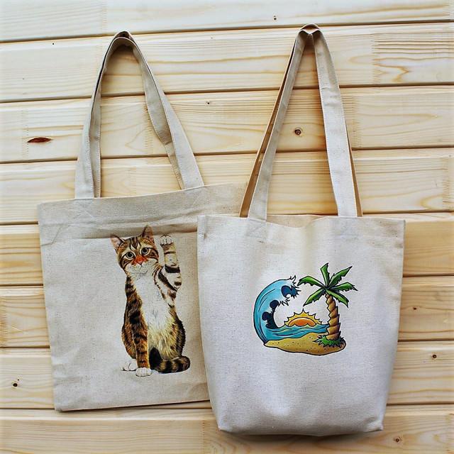 Тканевые сумки через плечо: женские изделия для покупок на длинной ручке